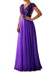 cheap -A-Line V Neck Floor Length Chiffon Bridesmaid Dress with Sequin / Pleats / Sparkle & Shine