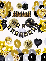 cheap -Happy Birthday Decorations white  For Men and Women,  Bday Party Decor Supplies Set with Banner, Star
