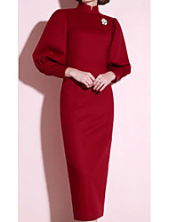 cheap -Sheath / Column High Neck Tea Length Jersey 3/4 Length Sleeve Plus Size Mother of the Bride Dress with Ruching 2020
