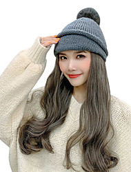 cheap -One Pack Solution Synthetic Extentions Cosplay Wig Wavy Deep Wave Free Part Wig Long Creamy-white Grey Pink Natural Black Red Synthetic Hair 20-24inch Women's Fashionable Design Gift Cosplay Dark