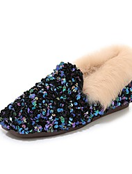 cheap -Women's Loafers & Slip-Ons Flat Heel Square Toe Feather / Sequin Rabbit Fur / Synthetics Fall & Winter Black / Silver