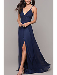 cheap -A-Line Spaghetti Strap Sweep / Brush Train Chiffon Elegant Prom Dress with Split Front / Lace Insert 2020