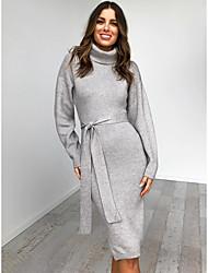 cheap -Women's Daily Street chic Sheath Dress - Solid Colored Drawstring Black Navy Blue Gray S M L XL