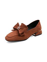 cheap -Women's Loafers & Slip-Ons Low Heel Square Toe Bowknot Suede Sweet / Minimalism Spring & Summer / Fall & Winter Black / Brown / Beige