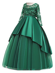 cheap -Ball Gown Floor Length Pageant Flower Girl Dresses - Polyester Long Sleeve Jewel Neck with Ruffles / Tier / Appliques
