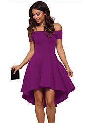 cheap -Women's Daily Basic Asymmetrical Sheath Dress Strapless Blue Black Wine XL XXL XXXL