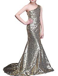 cheap -Mermaid / Trumpet One Shoulder Sweep / Brush Train Sequined Junior Bridesmaid Dress with Crystals