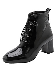 cheap -Women's Boots Chunky Heel Square Toe Patent Leather Booties / Ankle Boots Chinoiserie Spring &  Fall Black / White / Red / Party & Evening