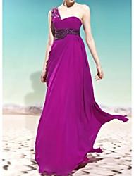 cheap -Sheath / Column One Shoulder Sweep / Brush Train Chiffon / Crepe / Sequined Elegant Formal Evening Dress with Pleats 2020