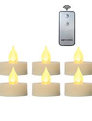 Недорогие -6 шт. 4 * 4 см пластиковые беспламенные светодиодные обету свечи на батарейках электрический чай свет реалистичный мерцающий пламя помахал краем с пультом дистанционного управления и таймер на