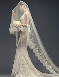 cheap -One-tier Lovers / Elegant & Luxurious Wedding Veil Cathedral Veils with Petal / Appliques 118.11 in (300cm) Tulle / Drop Veil