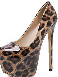 cheap -Women's Heels Stiletto Heel Round Toe PU Winter Brown