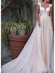 cheap -A-Line Wedding Dresses Bateau Neck Court Train Satin Tulle Cap Sleeve with Sashes / Ribbons Appliques 2021