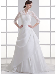 cheap -A-Line V Neck Chapel Train Lace / Satin / Taffeta 3/4 Length Sleeve Illusion Sleeve Wedding Dresses with Beading / Appliques / Side-Draped 2020 / Bell Sleeve