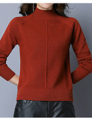 cheap -Women's Solid Colored Long Sleeve Pullover Sweater Jumper, Turtleneck Fall / Winter Black / Wine / Yellow S / M / L