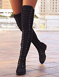 cheap -Women's Boots Over-The-Knee Boots Flat Heel Round Toe Canvas Over The Knee Boots Spring &  Fall Black / Brown / Coffee