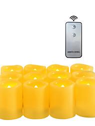 Недорогие -12pcs4 * 5 см пластиковые беспламенные светодиодные обету свечи на батарейках электрический чай свет реалистичные мерцающее пламя помахал краем с пультом дистанционного управления и таймер на