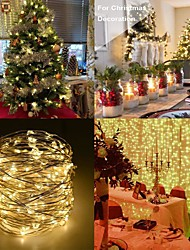 cheap -5m String Lights Outdoor String Lights 50100200 LEDs 1 13Keys Remote Controller 5pcs 1 set Red Blue Yellow Christmas New Year's Waterproof Party Christmas Wedding Decoration AA Batteries Powered