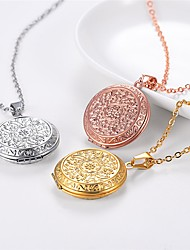 cheap -Women's Pendant Necklace Lockets Necklace Romantic Fashion Titanium Steel Rose Gold Silver Gold 55 cm Necklace Jewelry 1pc For Wedding Gift Daily Engagement Festival / Charm Necklace