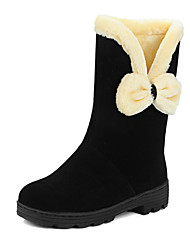 cheap -Women's Boots Low Heel Round Toe Bowknot Suede Mid-Calf Boots Sweet / Preppy Fall & Winter Black / Dark Red / Khaki
