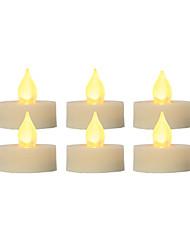 Недорогие -6 шт. 4 * 4 см пластиковые беспламенные светодиодные обету свечи на батарейках электрический чай свет реалистичные мерцающее пламя темный слоновая кость помахал краем с таймером 5 ч на Рождество