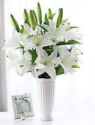 abordables -1 pcs fleurs de lis artificiel bouquet de mariage maison salon arrangement floral 96 cm