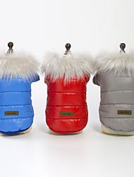 baratos -Cachorros Casacos Inverno Roupas para Cães Vermelho Azul Cinzento Ocasiões Especiais Plumagem Sólido Fantasias S M L XL XXL