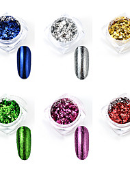 cheap -6 Boxes Mix Gold Silver Nail Art Foil Powder Irregular Aluminum Nail Powder For Nails Manicure 3D Glitter Gel Polish Nail Decoration