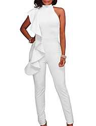 cheap -Women's Ruffle Kentucky Derby Party / Going out Halter Neck Yellow Royal Blue White Harem Slim Bodysuit Onesie, Solid Colored Cut Out / Ruffle S M L Cotton Sleeveless Spring Summer