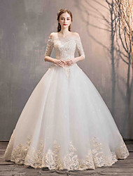 cheap -Ball Gown Off Shoulder Floor Length Lace / Tulle 3/4 Length Sleeve Made-To-Measure Wedding Dresses with 2020