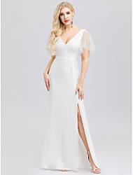 cheap -Mermaid / Trumpet V Neck Floor Length Polyester / Spandex Short Sleeve Casual / Vintage Backless Wedding Dresses with Split Front 2020 / Illusion Sleeve