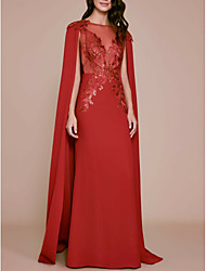 cheap -A-Line Elegant Formal Evening Dress Jewel Neck Sleeveless Sweep / Brush Train Chiffon Lace with Sequin 2021