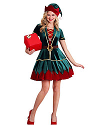 cheap -Christmas Trees Dress Women's Adults' Costume Party Christmas Christmas Polyester Top / Belt / Hat