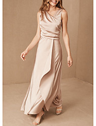 cheap -Sheath / Column V Neck Floor Length Satin Bridesmaid Dress with Ruching