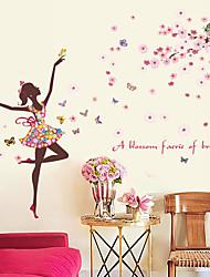 Недорогие -романтическая цветочная фея декоративные наклейки на стену - плоские наклейки на стены / люди стикеры на стенах пейзаж / цветы / ботаническая гостиная / для интерьера