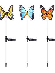 cheap -Solar Fiber Butterfly Lights Colorful Transformation Outdoor Waterproof Garden Garden Garden Lawn Lights 3PCS