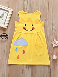 cheap -Kids Toddler Girls' Active Cute Fantastic Beasts Galaxy Rainbow Cartoon Embroidered Ruffle Patchwork Sleeveless Midi Dress Yellow