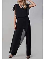 cheap -Pantsuit / Jumpsuit V Neck Ankle Length Chiffon Short Sleeve Jumpsuits Mother of the Bride Dress with Ruching 2020