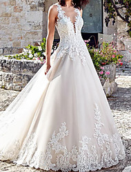 cheap -A-Line V Neck Court Train Lace / Tulle Regular Straps Wedding Dresses with Crystals / Beading / Embroidery 2020