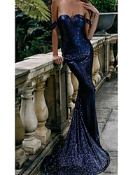cheap -Sheath / Column Off Shoulder Sweep / Brush Train Sequined Elegant Formal Evening Dress with Sequin 2020