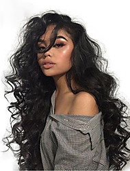 cheap -Virgin Human Hair 360 Frontal Lace Front Wig Deep Parting style Brazilian Hair Wavy Natural Wig 130% 150% 180% Density with Baby Hair Adjustable Heat Resistant Best Quality Thick Women's Medium Length