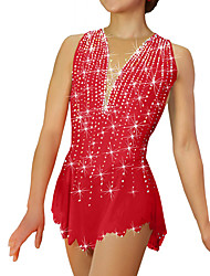 cheap -Figure Skating Dress Women's Girls' Ice Skating Dress Sky Blue Purple Yellow Spandex High Elasticity Competition Skating Wear Patchwork Crystal / Rhinestone Sleeveless Ice Skating Figure Skating