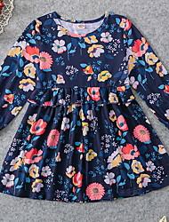 Недорогие -Дети (1-4 лет) Девочки Контрастных цветов Платье Синий