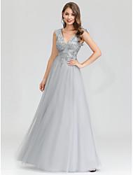 cheap -A-Line Elegant Prom Formal Evening Dress V Neck Sleeveless Floor Length Nylon Tulle Polyester with Sequin 2020