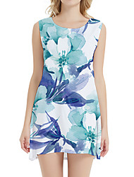 cheap -Women's Day Clutches Street Street chic Sheath Dress - Floral Print Light Blue XS S M L