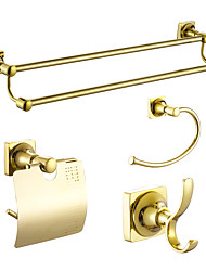 cheap -Bathroom Accessory Set Modern Style / Classical Brass 4pcs - Towel bar /Toilet Paper Holders / Towel Rings/Robe hook Wall Mounted