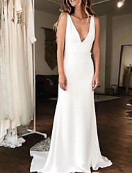 cheap -A-Line V Neck Court Train Charmeuse Regular Straps Wedding Dresses with Draping 2020