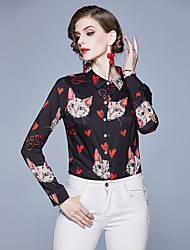 cheap -Women's Daily Vintage Shirt - Animal Cat, Print Black