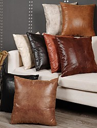 cheap -Set of 1 Faux Leather Throw Pillow Cover 18x18 Inches - Sofa, Couch, Den Pillow Cover Decor - Bedroom, Living Room, Decor - Modern, Bohemian, Farmhouse Pillow Covers - Cushion Pillow Cover