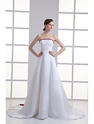cheap -A-Line Wedding Dresses Strapless Chapel Train Satin Strapless Wedding Dress in Color with Beading Embroidery 2020